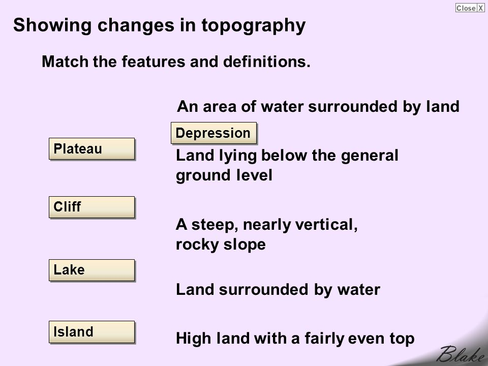 Showing changes in topography Match the features and definitions.