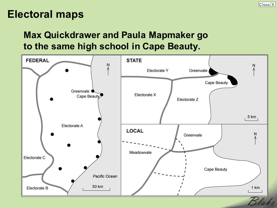 Electoral maps Max Quickdrawer and Paula Mapmaker go to the same high school in Cape Beauty.