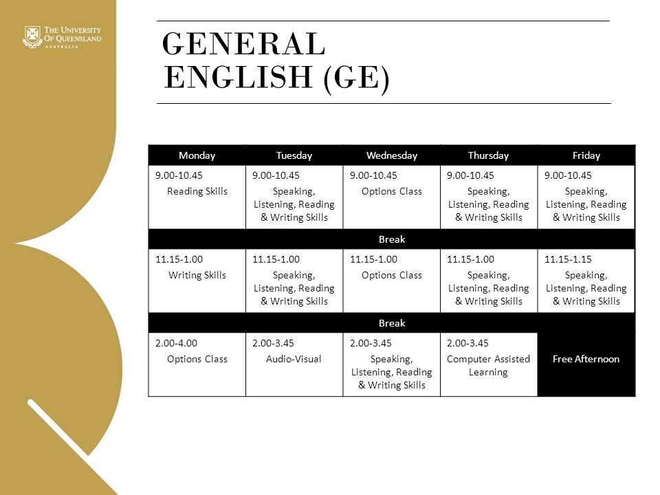 GENERAL ENGLISH (GE) MondayTuesdayWednesdayThursdayFriday 9.00-10.45 Reading Skills 9.00-10.45 Speaking, Listening, Reading & Writing Skills 9.00-10.4