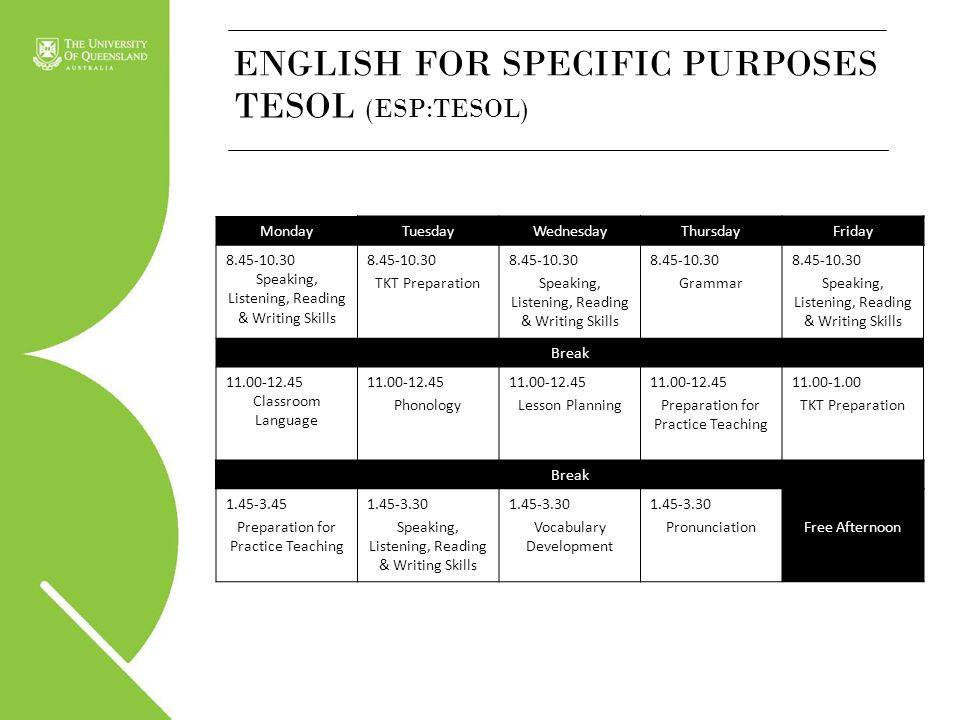 ENGLISH FOR SPECIFIC PURPOSES TESOL (ESP:TESOL) MondayTuesdayWednesdayThursdayFriday 8.45-10.30 Speaking, Listening, Reading & Writing Skills 8.45-10.