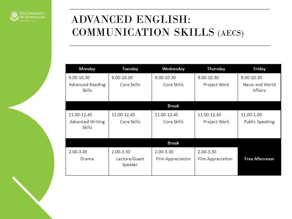 MondayTuesdayWednesdayThursdayFriday 9.00-10.30 Advanced Reading Skills 9.00-10.30 Core Skills 9.00-10.30 Core Skills 9.00-10.30 Project Work 9.00-10.