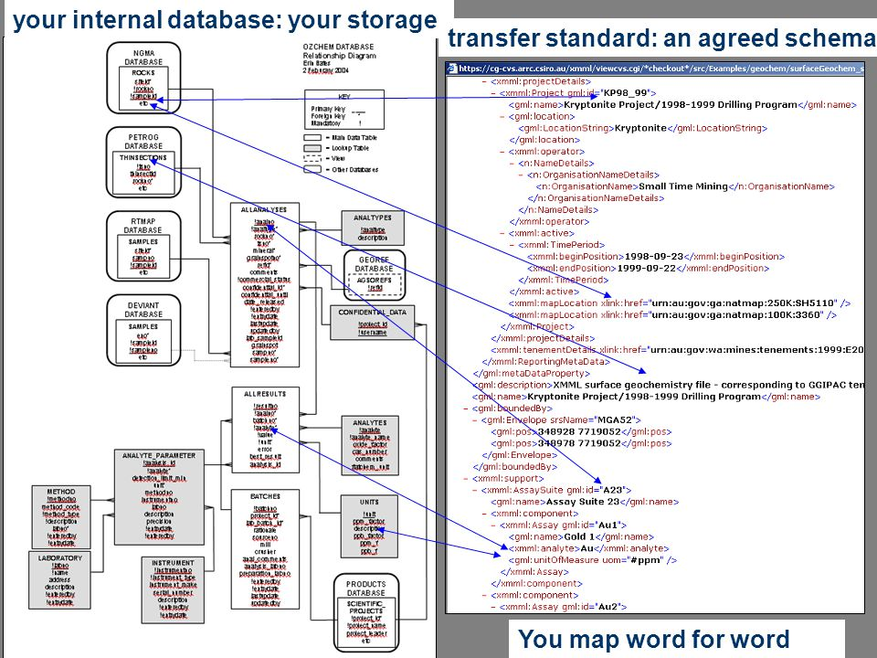 Interoperability Work Group your internal database: your storage You map word for word transfer standard: an agreed schema