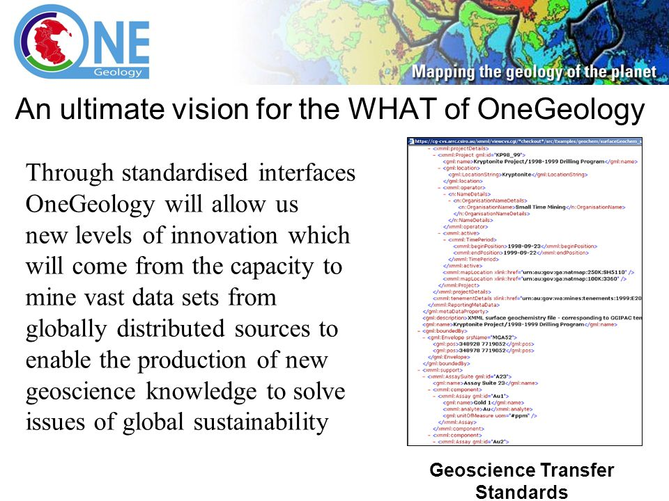 Interoperability Work Group An ultimate vision for the WHAT of OneGeology Through standardised interfaces OneGeology will allow us new levels of innovation which will come from the capacity to mine vast data sets from globally distributed sources to enable the production of new geoscience knowledge to solve issues of global sustainability Geoscience Transfer Standards