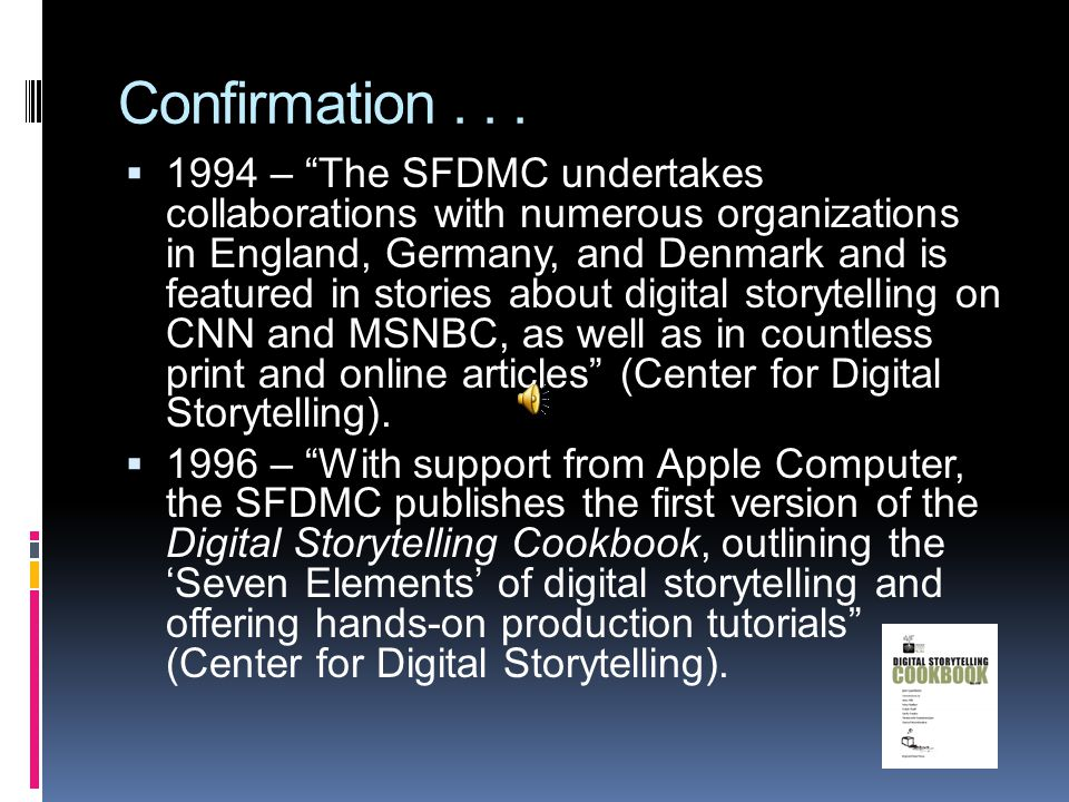 """Confirmation...  1994 – """"The SFDMC undertakes collaborations with numerous organizations in England, Germany, and Denmark and is featured in stories"""
