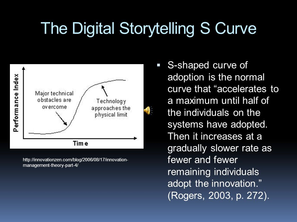 The Digital Storytelling S Curve  S-shaped curve of adoption is the normal curve that accelerates to a maximum until half of the individuals on the systems have adopted.