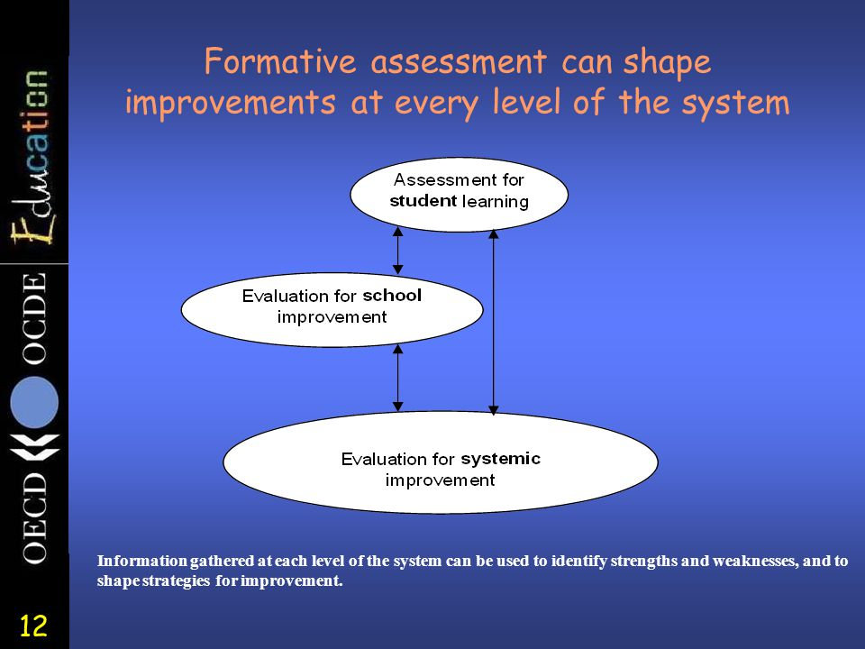 12 Formative assessment can shape improvements at every level of the system Information gathered at each level of the system can be used to identify strengths and weaknesses, and to shape strategies for improvement.