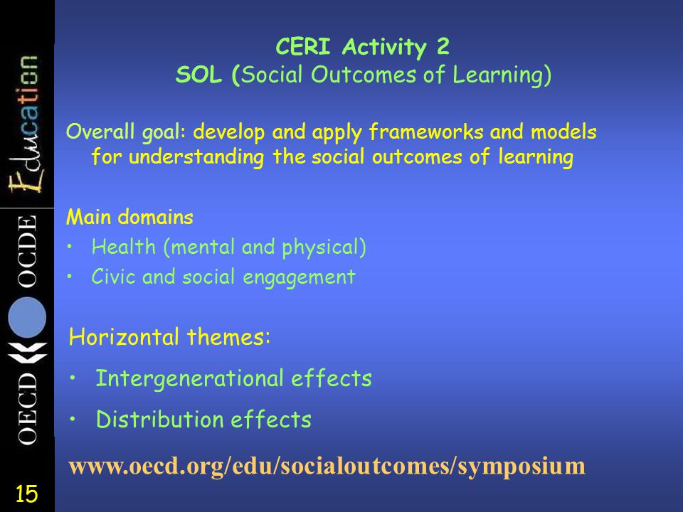 15 CERI Activity 2 SOL (Social Outcomes of Learning) Overall goal: develop and apply frameworks and models for understanding the social outcomes of le
