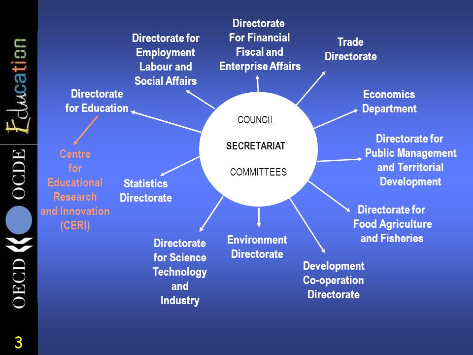 3 Economics Department Statistics Directorate Development Co-operation Directorate Trade Directorate For Financial Fiscal and Enterprise Affairs Directorate for Science Technology and Industry Directorate for Education Directorate for Employment Labour and Social Affairs Directorate for Food Agriculture and Fisheries Directorate for Public Management and Territorial Development Centre for Educational Research and Innovation (CERI) COMMITTEES SECRETARIAT COUNCI L Environment Directorate