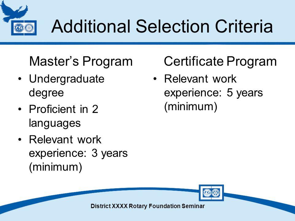 District XXXX Rotary Foundation Seminar Additional Selection Criteria Master's Program Undergraduate degree Proficient in 2 languages Relevant work ex