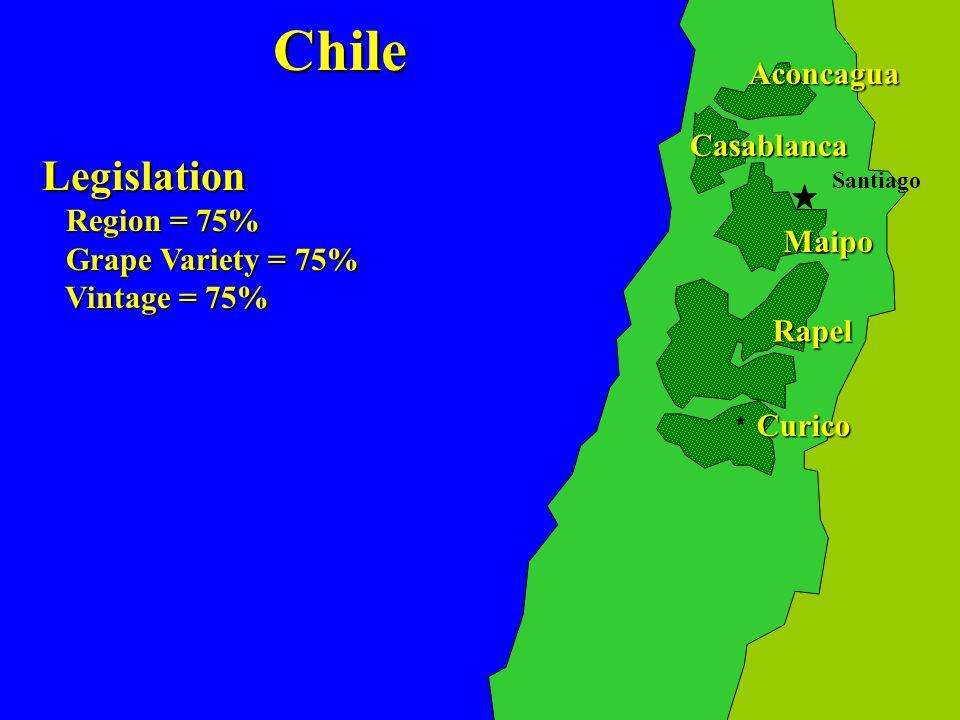 Maipo Rapel Curico Casablanca Aconcagua Legislation Region = 75% Region = 75% Grape Variety = 75% Grape Variety = 75% Vintage = 75% Vintage = 75% SantiagoChile