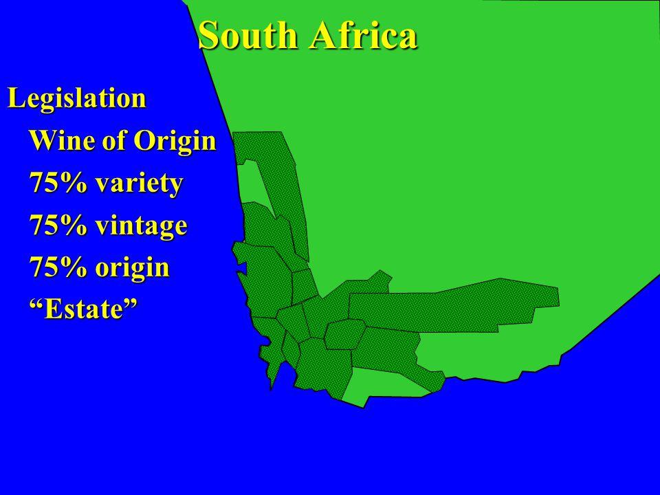 Legislation Wine of Origin Wine of Origin 75% variety 75% variety 75% vintage 75% vintage 75% origin 75% origin Estate Estate South Africa