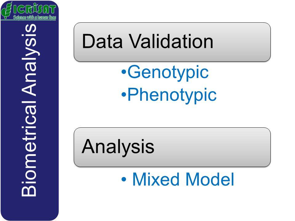 Data Validation Genotypic Phenotypic Analysis Mixed Model Biometrical Analysis