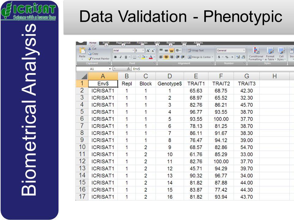 Data Validation - Phenotypic Biometrical Analysis