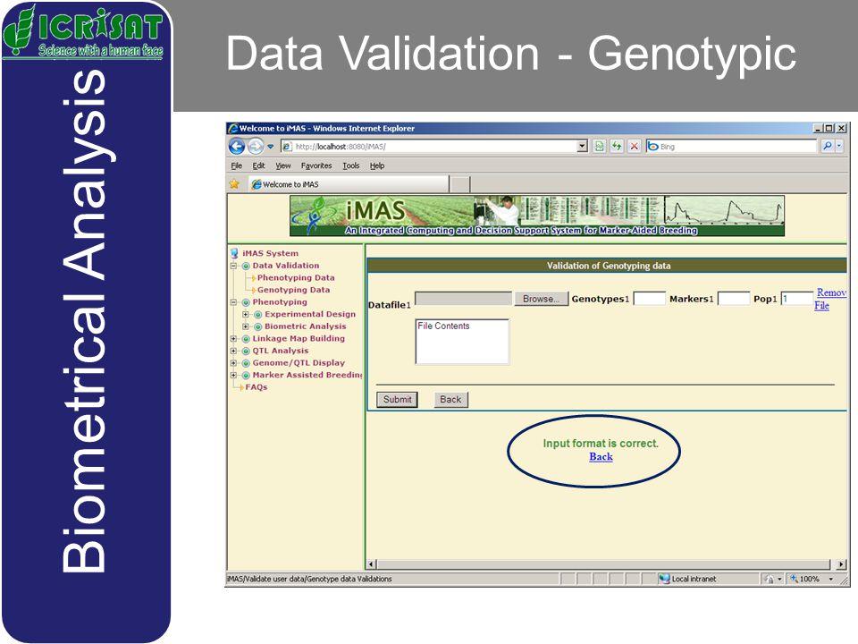Data Validation - Genotypic Biometrical Analysis