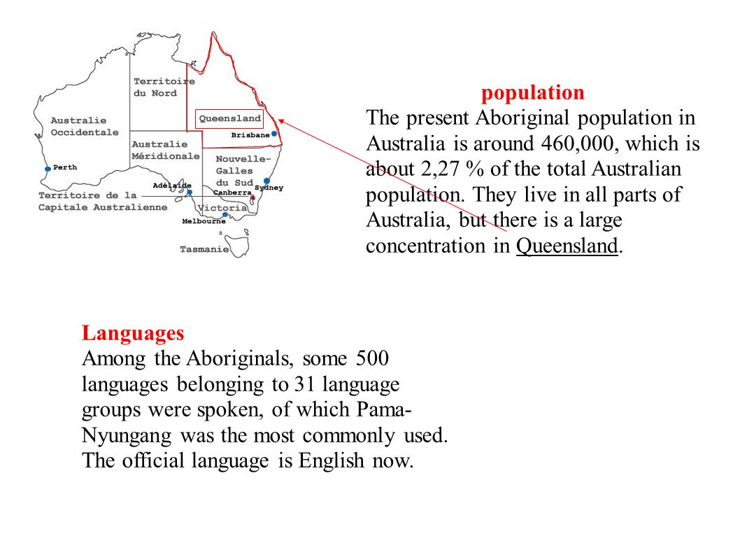 population The present Aboriginal population in Australia is around 460,000, which is about 2,27 % of the total Australian population.
