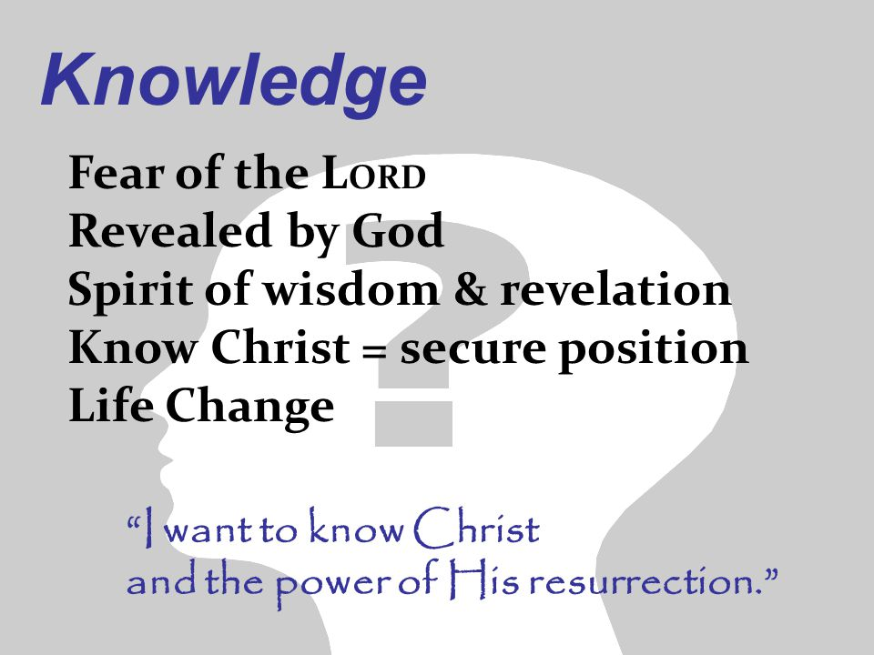 "Fear of the L ORD Revealed by God Spirit of wisdom & revelation Know Christ = secure position Life Change Knowledge ""I want to know Christ and the pow"