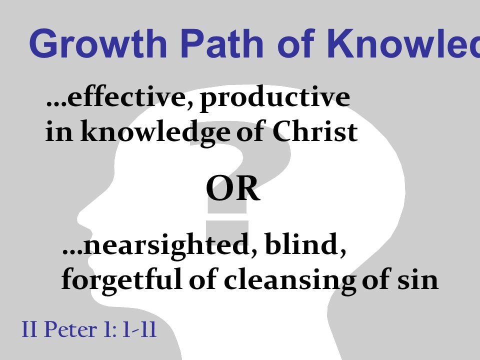 Growth Path of Knowledge II Peter 1: 1-11 …effective, productive in knowledge of Christ …nearsighted, blind, forgetful of cleansing of sin OR