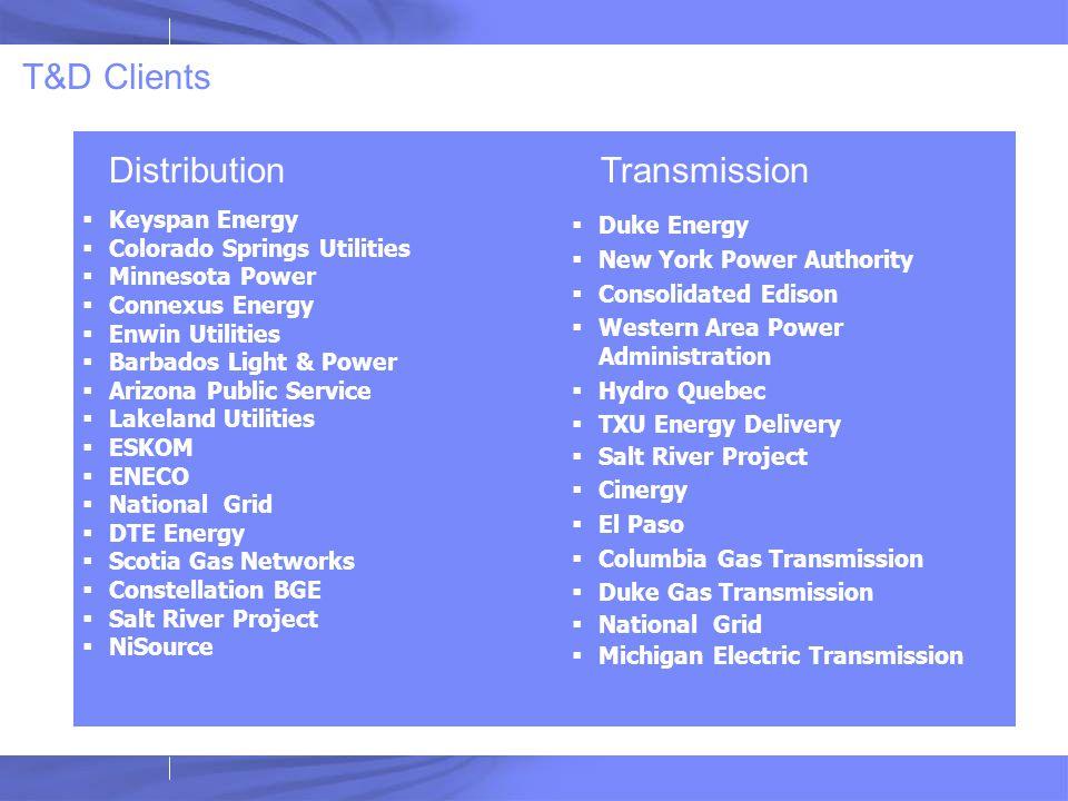 T&D Clients  Keyspan Energy  Colorado Springs Utilities  Minnesota Power  Connexus Energy  Enwin Utilities  Barbados Light & Power  Arizona Pub