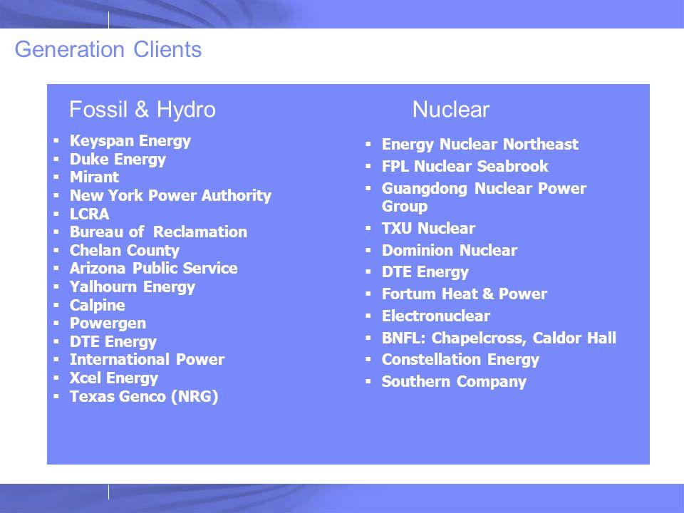 Generation Clients  Keyspan Energy  Duke Energy  Mirant  New York Power Authority  LCRA  Bureau of Reclamation  Chelan County  Arizona Public