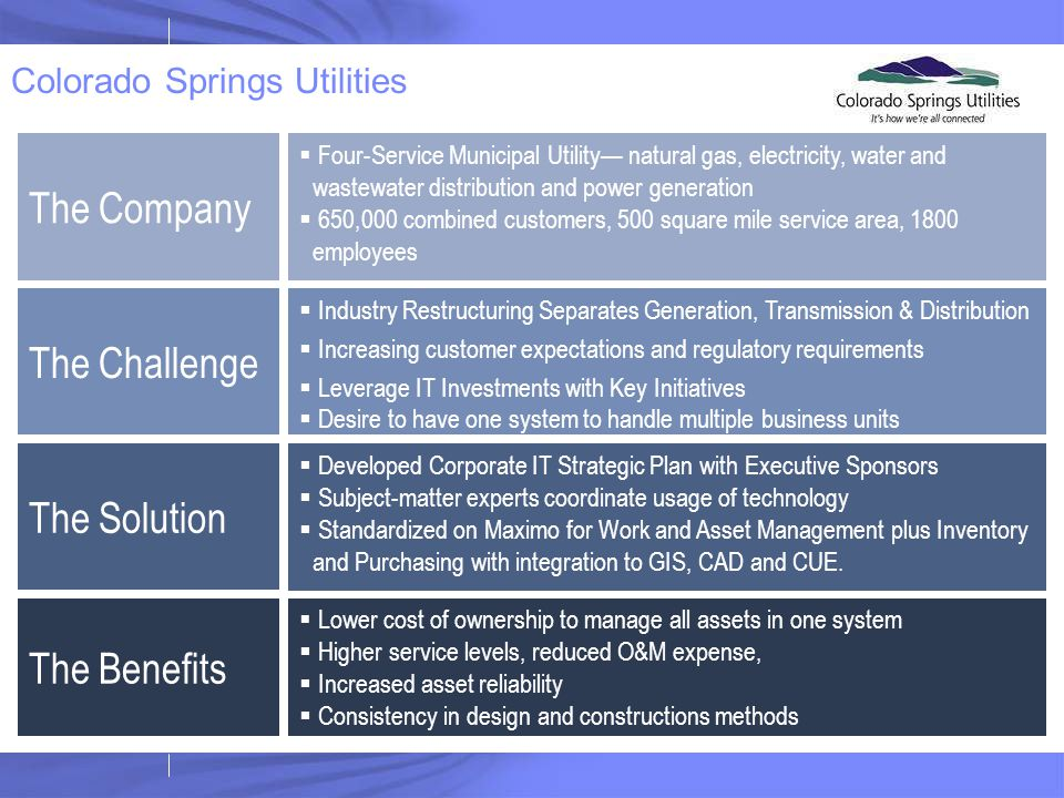 The Company  Four-Service Municipal Utility— natural gas, electricity, water and wastewater distribution and power generation  650,000 combined cust