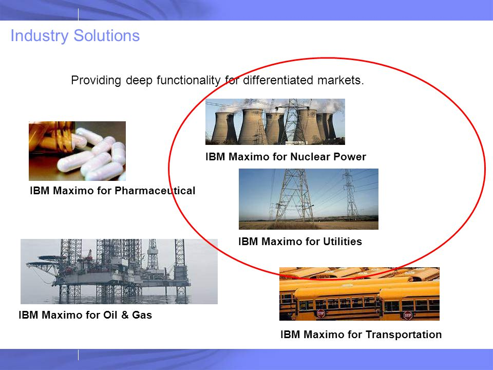 Industry Solutions Providing deep functionality for differentiated markets. IBM Maximo for Pharmaceutical IBM Maximo for Oil & Gas IBM Maximo for Nucl