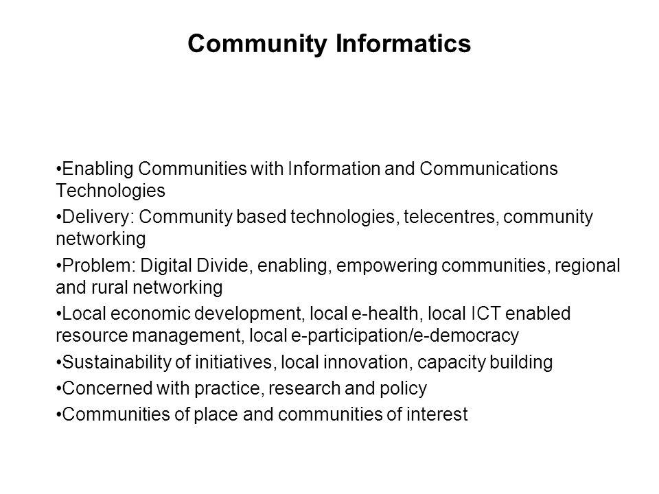 Why Community Based Technology.
