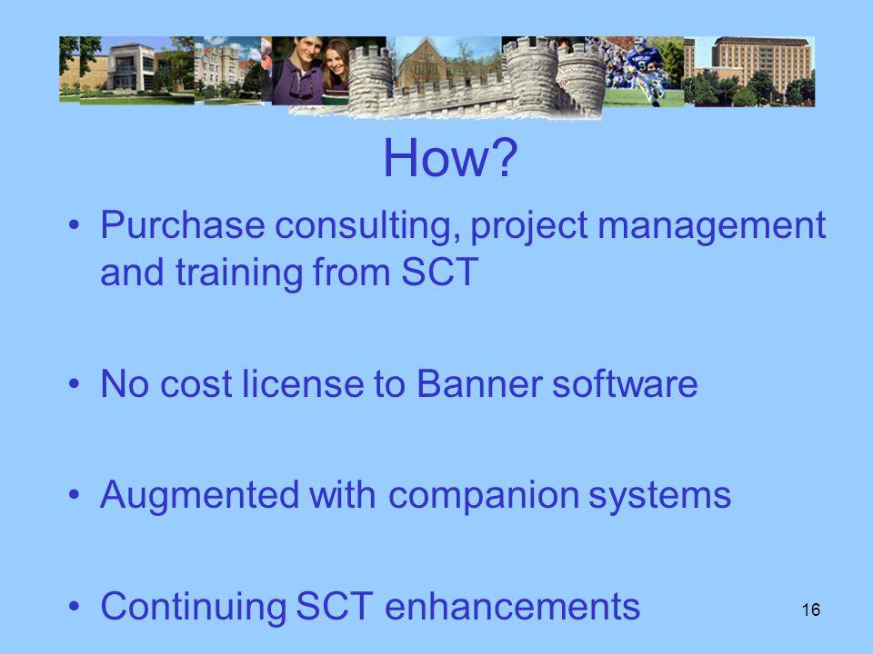 15 When ? Finance HR Student Financial Aid Degree Audit Alumni Development Jan 2005 Jan 2006 Jan 2007 Jan 2008 Operational Datamarts Student Data Mart