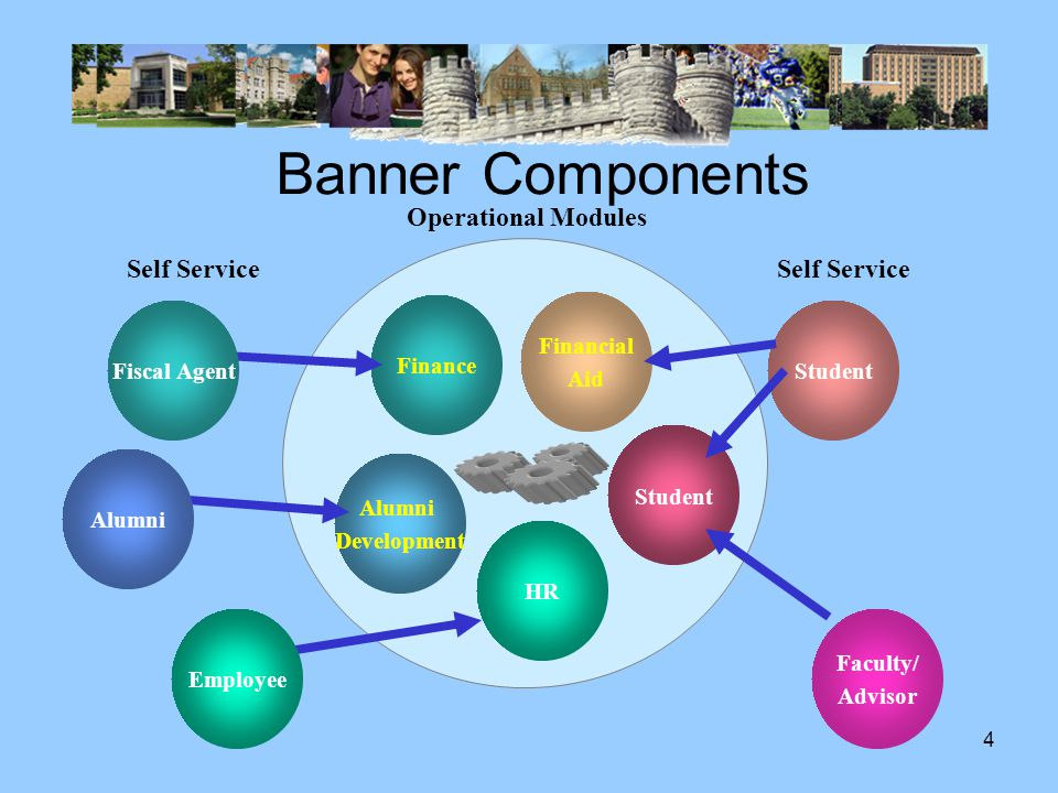 3 Banner Components Operational Modules View & Enter Data Automated Functionality For Traditional Office Users Self-Service Web Access for Constituents & Staff Reports View Prepare Banner Database Data Mart Point in Time Databases Copy Frequently Web Portal for Constituents