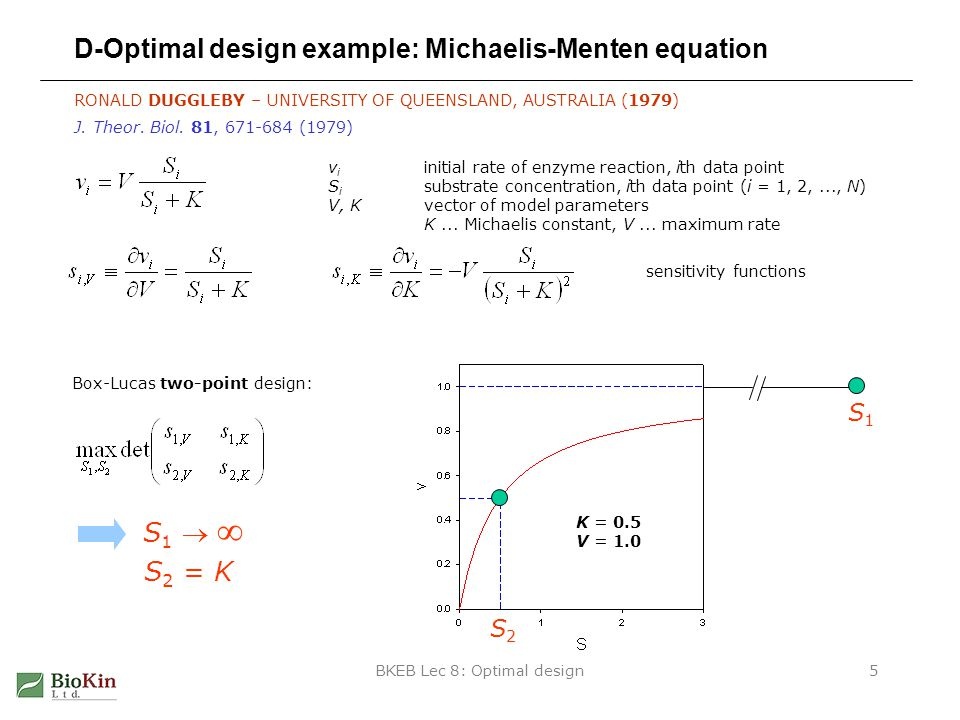 BKEB Lec 8: Optimal design5 D-Optimal design example: Michaelis-Menten equation RONALD DUGGLEBY – UNIVERSITY OF QUEENSLAND, AUSTRALIA (1979) v i initial rate of enzyme reaction, ith data point S i substrate concentration, ith data point (i = 1, 2,..., N) V, Kvector of model parameters K...