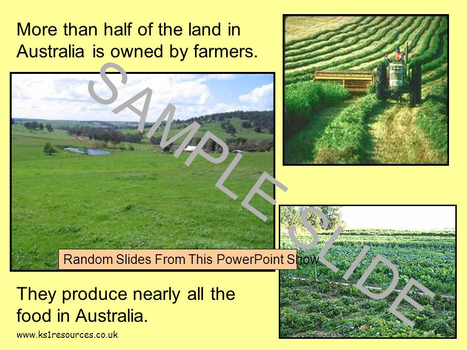 www.ks1resources.co.uk More than half of the land in Australia is owned by farmers.