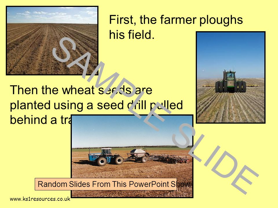 www.ks1resources.co.uk First, the farmer ploughs his field.