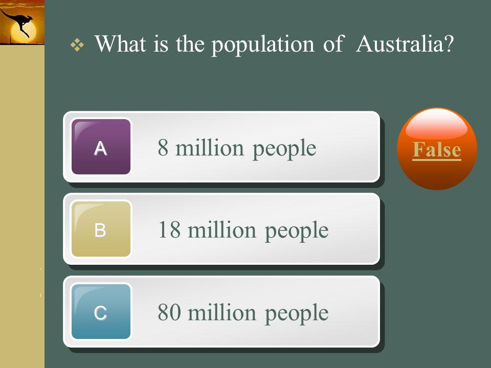www.themegallery.com Company Logo 8 million people A 18 million people B 80 million people C  What is the population of Australia? False