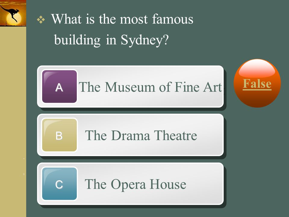 www.themegallery.com Company Logo The Museum of Fine Art A The Drama Theatre B The Opera House C  What is the most famous building in Sydney? False