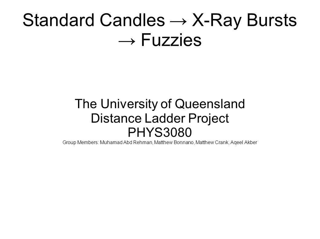 Standard Candles → X-Ray Bursts → Fuzzies The University of Queensland Distance Ladder Project PHYS3080 Group Members: Muhamad Abd Rehman, Matthew Bonnano, Matthew Crank, Aqeel Akber