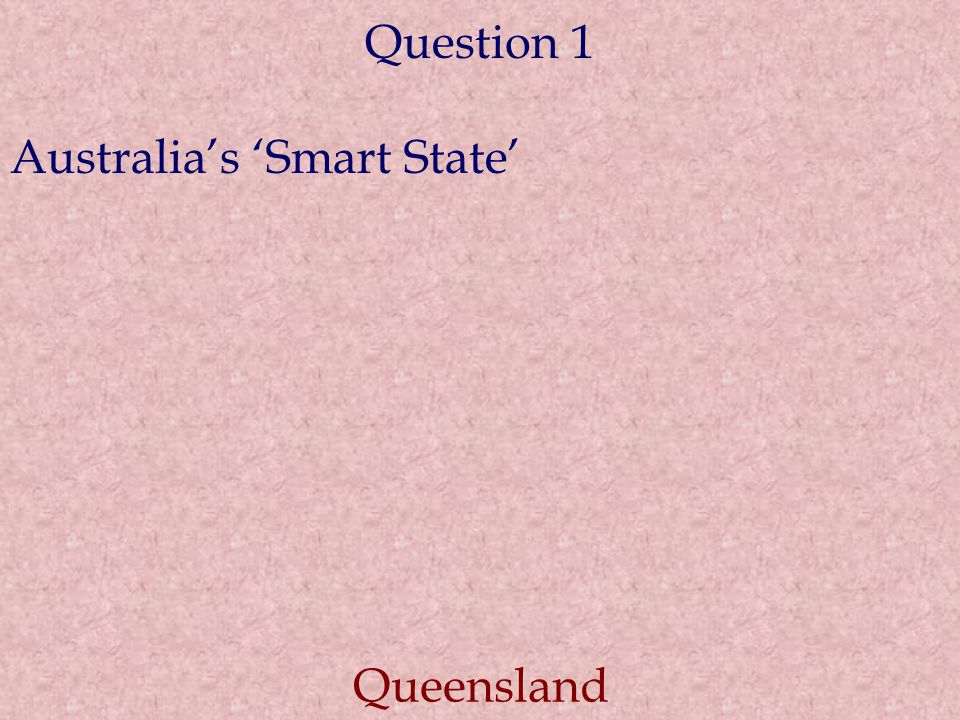 Question 1 Australia's 'Smart State' Queensland