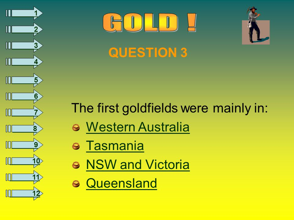 8 1 2 3 4 5 6 7 9 10 11 12 The first goldfields were mainly in: Western Australia Tasmania NSW and Victoria Queensland QUESTION 3