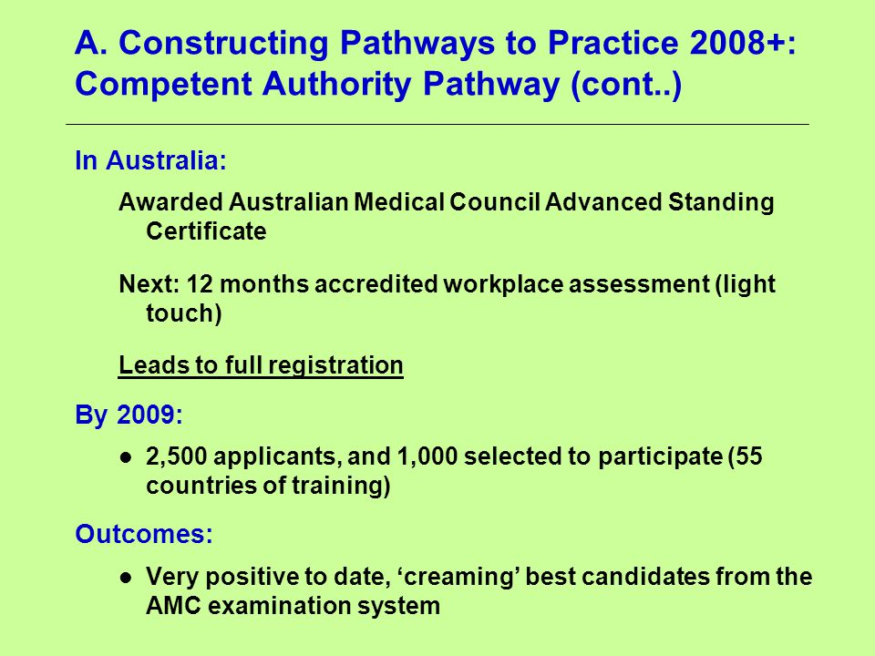 A. Constructing Pathways to Practice 2008+: Competent Authority Pathway (cont..) In Australia: Awarded Australian Medical Council Advanced Standing Ce