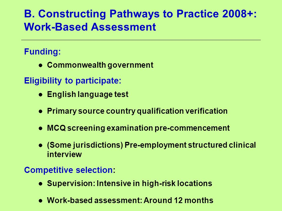 B. Constructing Pathways to Practice 2008+: Work-Based Assessment Funding: Commonwealth government Eligibility to participate: English language test P