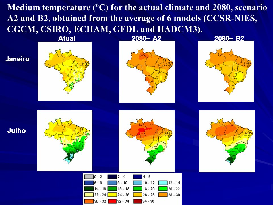 Atual2080–A22080–B22050–A2200–B2 Janeiro Julho Janeiro Julho Medium temperature (ºC) for the actual climate and 2080, scenario A2 and B2, obtained from the average of 6 models (CCSR-NIES, CGCM, CSIRO, ECHAM, GFDL and HADCM3).