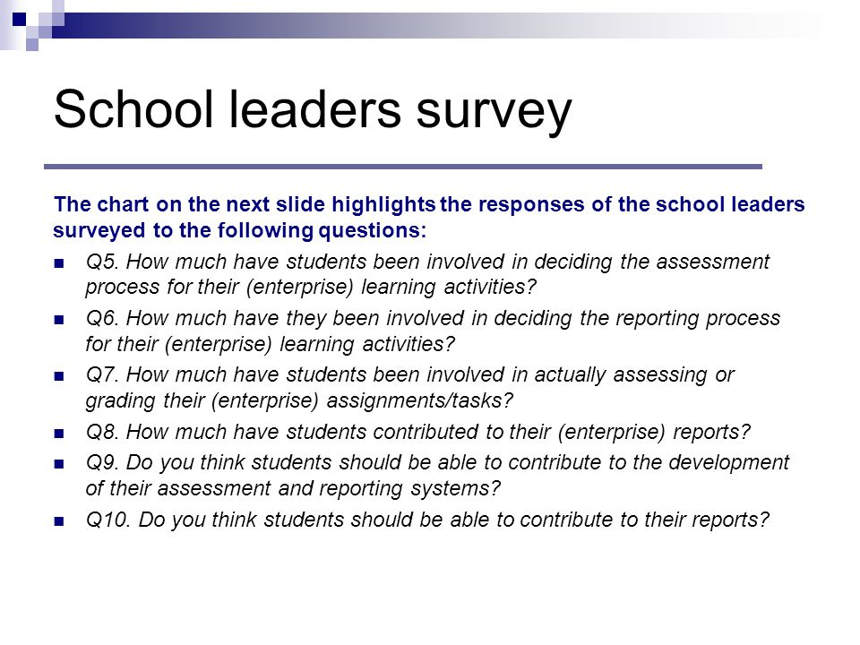 School leaders survey The chart on the next slide highlights the responses of the school leaders surveyed to the following questions: Q5.