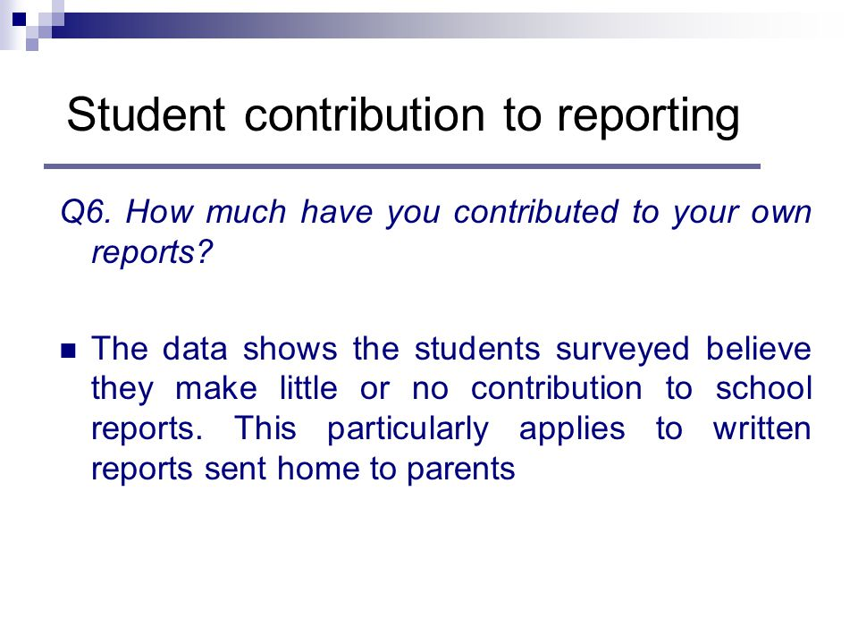 Q6. How much have you contributed to your own reports.