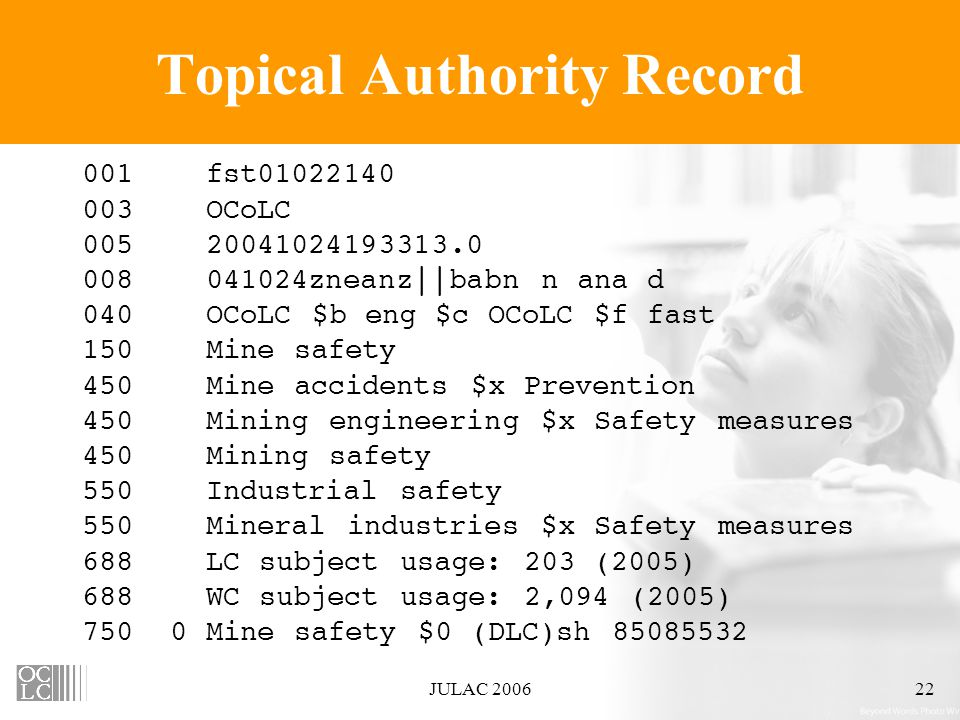 JULAC 200622 Topical Authority Record                               