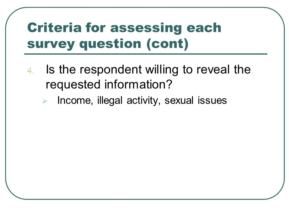 Criteria for assessing each survey question (cont) 4.