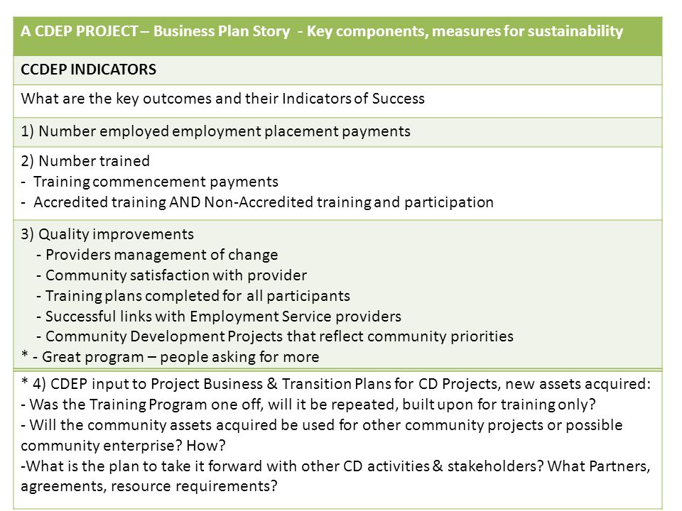 A CDEP PROJECT – Business Plan Story - Key components, measures for sustainability CCDEP INDICATORS What are the key outcomes and their Indicators of Success 1) Number employed employment placement payments 2) Number trained - Training commencement payments - Accredited training AND Non-Accredited training and participation 3) Quality improvements - Providers management of change - Community satisfaction with provider - Training plans completed for all participants - Successful links with Employment Service providers - Community Development Projects that reflect community priorities * - Great program – people asking for more * 4) CDEP input to Project Business & Transition Plans for CD Projects, new assets acquired: - Was the Training Program one off, will it be repeated, built upon for training only.