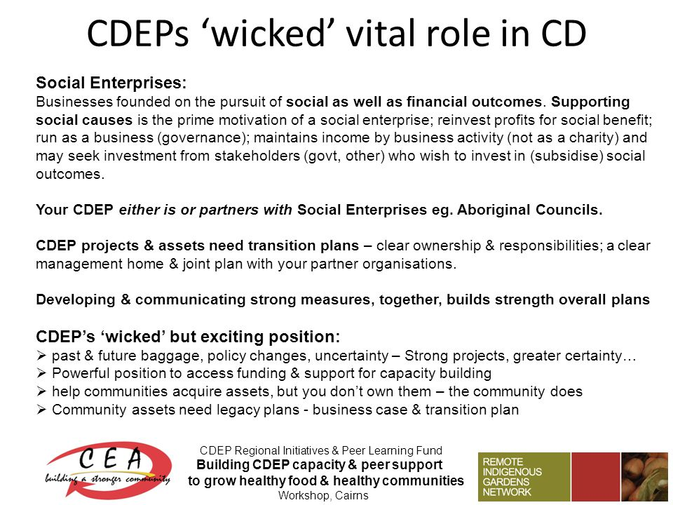 CDEPs 'wicked' vital role in CD CDEP Regional Initiatives & Peer Learning Fund Building CDEP capacity & peer support to grow healthy food & healthy co