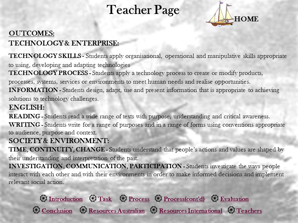 Teacher Page HOME IntroductionTaskProcessEvaluation ConclusionTeachersResources Australian Process(cont'd) Resources International OUTCOMES: TECHNOLOGY & ENTERPRISE: TECHNOLOGY SKILLS - Students apply organisational, operational and manipulative skills appropriate to using, developing and adapting technologies TECHNOLOGY PROCESS - Students apply a technology process to create or modify products, processes, systems, services or environments to meet human needs and realise opportunities.