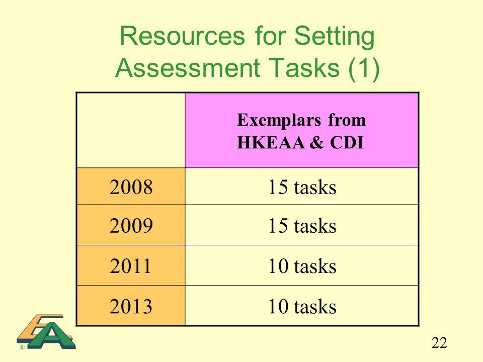 22 Resources for Setting Assessment Tasks (1) Exemplars from HKEAA & CDI 200815 tasks 200915 tasks 201110 tasks 201310 tasks