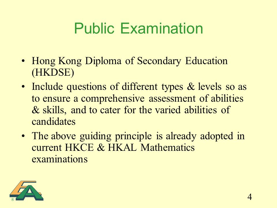 4 Public Examination Hong Kong Diploma of Secondary Education (HKDSE) Include questions of different types & levels so as to ensure a comprehensive as