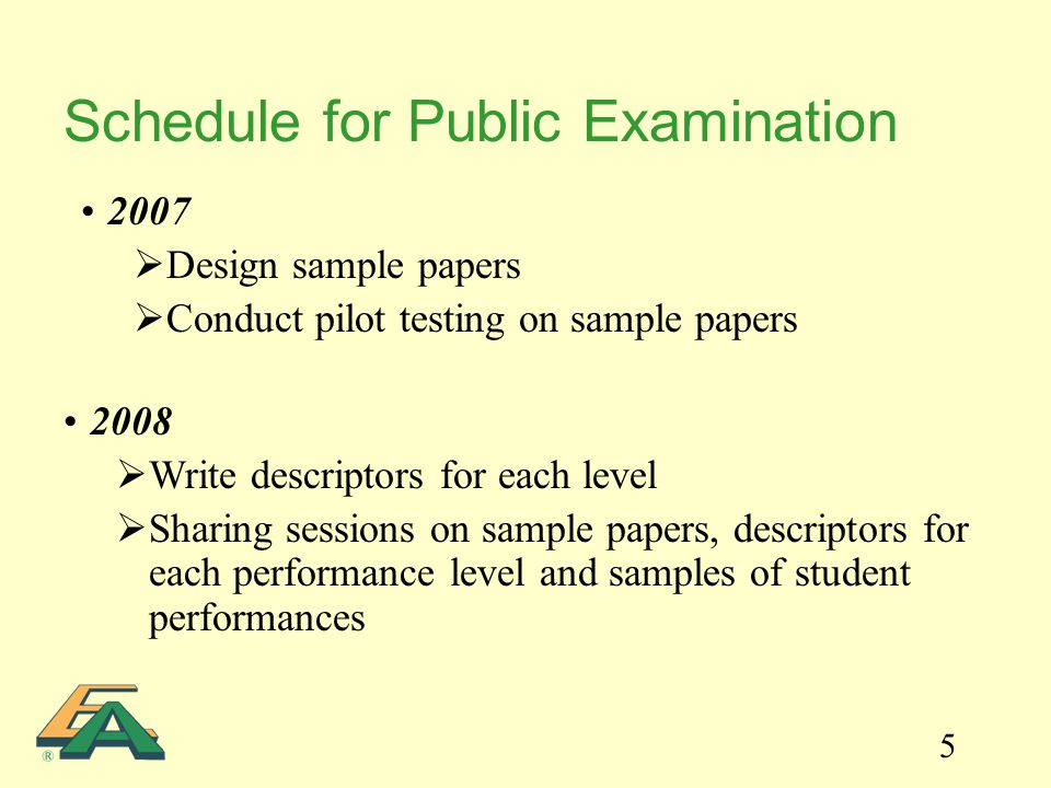 5 Schedule for Public Examination 2007  Design sample papers  Conduct pilot testing on sample papers 2008  Write descriptors for each level  Shari