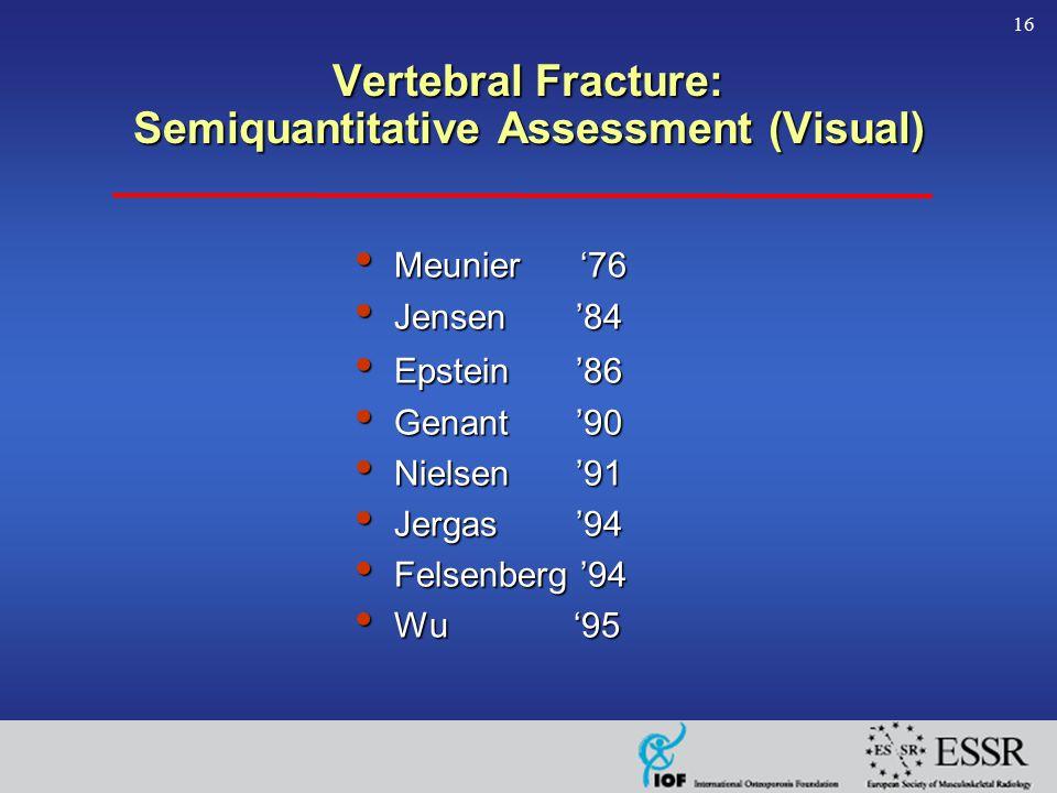 16 Vertebral Fracture: Semiquantitative Assessment (Visual) Meunier '76 Meunier '76 Jensen '84 Jensen '84 Epstein '86 Epstein '86 Genant '90 Genant '90 Nielsen '91 Nielsen '91 Jergas '94 Jergas '94 Felsenberg '94 Felsenberg '94 Wu '95 Wu '95